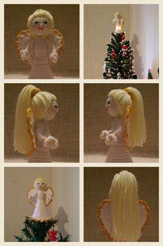 Crochet Amigurumi ... Angel tree topper doll