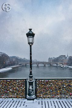"Pont des Arts ~ The ""Love"" Bridge in snow."