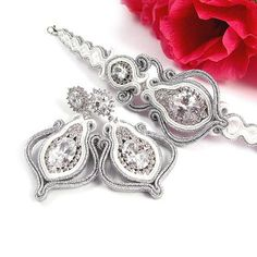 Wedding bridal earrings soutache white gold by byPiLLowDesign