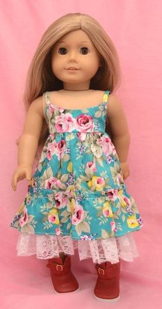 "Doll clothes only - fit 18"" American Girl Doll - dress and boots"