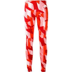Nike skyscraper print leggings ($45) ❤ liked on Polyvore featuring pants, leggings, red, stretch waist pants, elastic waistband pants, red trousers, nike and red leggings