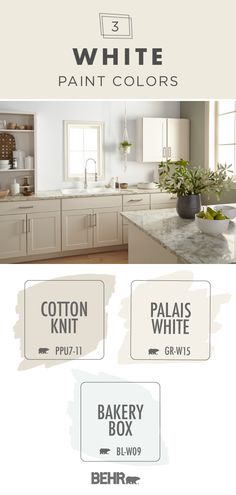 Get inspired to add a fresh, clean style to your living space with this white Behr Paint colour palette. These neutral shades are a classic addition to your home, as seen in this traditional kitchen. Click below to learn more about these timeless hues. Behr Paint Colors, White Paint Colors, Paint Colors For Home, White Paints, House Colors, Neutral Paint, Gray Paint, Behr Pintura, Country Style Homes