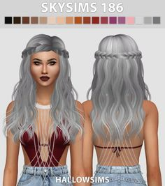 Skysims 186 hair recolors at Hallow Sims via Sims 4 Updates