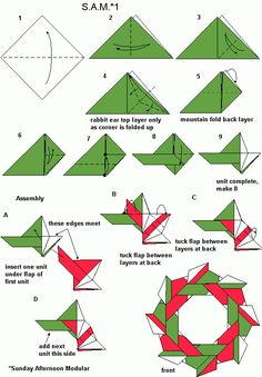 S.A.M. 1 diagrams Origami 2d, Origami And Kirigami, Origami Paper Art, Modular Origami, Origami Folding, Iris Folding, Origami Stars, Origami Flowers, Diy Paper