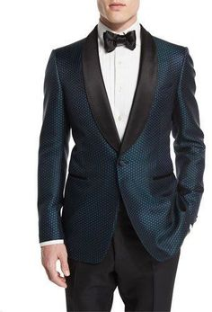 TOM FORD Buckley-Base Mesh-Print Tuxedo Jacket, Green/Black