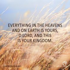 Everything in the heavens and on earth is yours, O Lord, and this is your kingdom. - 1 Chron. 29:11B #NLT #Bible