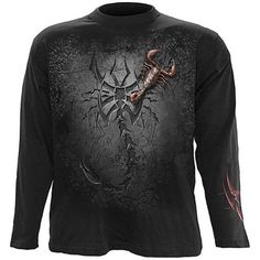 long sleeved t-shirt tribal scorpion (black) - rockcollection.co.uk - $220nok e/ fortolling