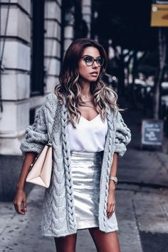 IRO Paris chunky knit slouchy gray cardigan + Proenza Schouler silver metallic leather skirt