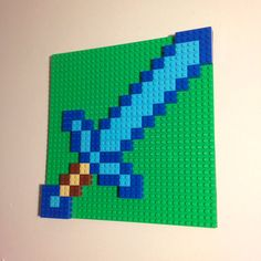 Minecraft Inspired LEGO Wall Art Diamond Sword by HalfTanuki