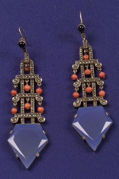 Art Deco Chalcedony, Coral, Marcasite and Onyx Earpendants, Theodore Fahrner