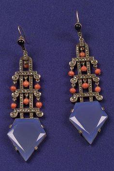 Art Deco Chalcedony, Coral, Marcasite and Onyx Earpendants, Theodore Fahrner