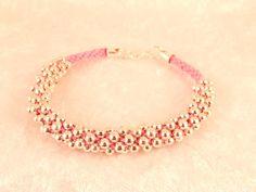Davina Pink Beaded Kumihimo Bracelet by Handmadebymandv on Etsy, £7.00
