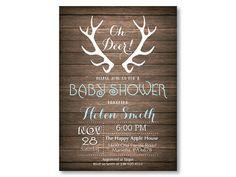 Deer Baby Shower Invitation. Rustic Deer by happyappleprinting
