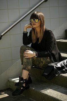 Fashionzen Camouflage Mirrored sunglasses Balenciaga cut-out boots Celine bag