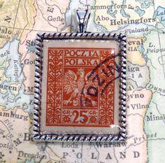 Vintage Poczta Polska Poland Postage Stamp Necklace Pendant Key Ring by 12be on Etsy