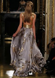 Lavendar and Gold Backless Gown