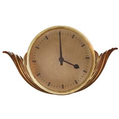 Art Deco Gilt Wood Clock | From a unique collection of antique and modern clocks at https://www.1stdibs.com/furniture/decorative-objects/clocks/