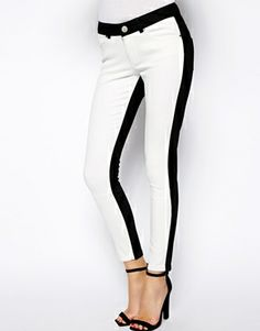 Enlarge ASOS Whitby Low Rise Skinny Ankle Grazer Jeans in Mono Panel