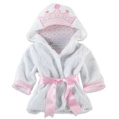 She'll feel like royalty drying off in the comfort of this Little Princess Hooded Spa Robe by Baby Aspen. Oh-so-cozy, it will keep her warm wrapped in its soft white folds, while an embroidered crown on the hood adds to her charm. Baby Aspen, Baby Kids, Baby Boy, Little Princess, Future Baby, Pink White, Girl Outfits, Clothes, Babies