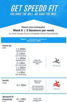 Dave McNulty Swim Fitness Training Plan - Week 6 * Speedo - Swimming drills - Women's Need Swimming Drills, Swimming Tips, Swimming Program, Swimming Fitness, Olympic Swimming, Swimming Sport, Swimming Workouts For Beginners, Fun Workouts, Workout Routines