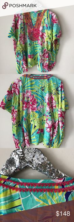 Lily Pulitzer Beaded Caftan EUC This pattern/style sold out. 100% silk. Cinch/drawstring waist. Worn once. Looks awesome with white skinnies. Lilly Pulitzer Tops Tunics
