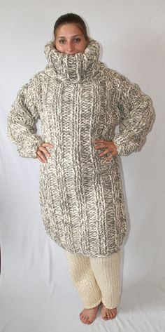 To order 3kg extra scratchy itchy chunky turtleneck Long Sweater Dress,  Sweater Outfits, Knit ac6f31a92f