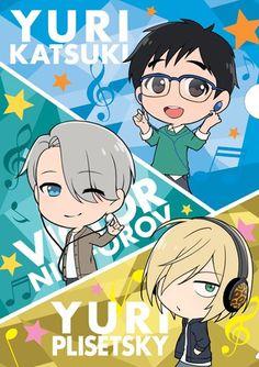 Yuri On Ice. Victor Nikiforov, Yuuri Katsuki, Yuri Plisetsky.