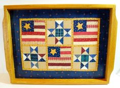 Folk Art Wood Patriotic American Flag Quilted pattern serving tray
