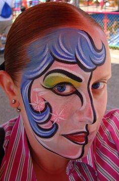 Blue Haired lady (Face Painting) by Catherine Pannulla
