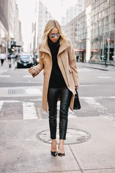Camel wool coat, leather pant