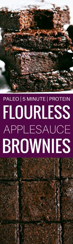 Fudgey paleo applesauce brownies made with collagen! An easy and delicious recipe for moist cakey brownies. Gluten free, dairy free, naturally sweetened.