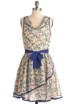 Two for Teatime Dress - Mid-length, Multi, Green, Blue, Floral, Trim, A-line, Spring, Yellow, Tan / Cream, Party, Sleeveless