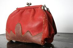 Lovely red and brown kid leather purse from early by smilingmagpie