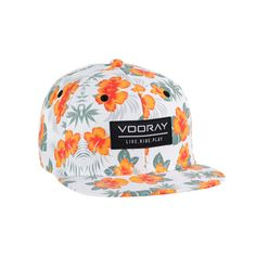 - 6 Panel with structured front - Snapback closure (custom colored 2 tone snap closure) - Full custom Mahalo Floral Print - VOORAY woven label front patch - LIVE RIDE PLAY inside taping