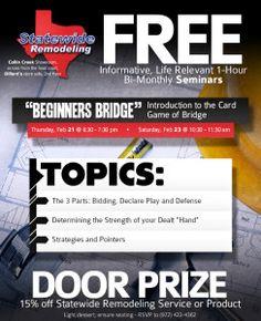 A Beginners Guide to Bridge Door Prizes, Say Hello, Home Remodeling, Bridge, Events, Life, Bridges, House Remodeling, Bro