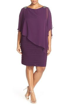 Xscape Embellished Shutter Pleat Dress with Overlay (Plus Size) available at #Nordstrom