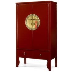 Chinese Wedding Cabinet in Red Lacquer. Made from solid elm wood, and decorated with large, circular brass plates on the doors. The plates on these ones are etched with Chinese figures and with the twelve animals of the Chinese zodiac. #ChineseCabinet