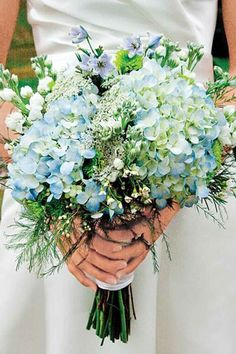 Blue Wedding Flowers Bridal Bouquets and Wedding Flowers: Bouquet with blue hydrangea - Looking for destination wedding bouquet inspiration? Check out our collection of 150 stunning bridal bouquets. Bouquet Bride, Hydrangea Bouquet Wedding, Bridal Flowers, Hydrangea Garden, Bouquet Flowers, Hydrangea Centerpieces, Bridal Bouquet Blue, Tall Centerpiece, Table Flowers