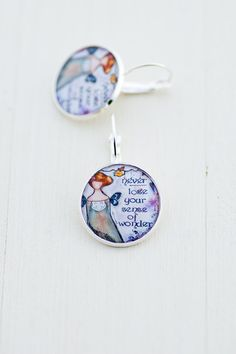 Sense of Wonder Art Earrings, Whimsy Girl Image Earrings with Words, Gift for Friend Photo Earrings, Inspirational Quote Earrings