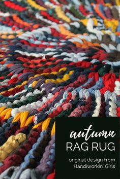 "A blending of our favorite fall colors, our ""autumn brights"" rag rug features red, orange, gold, forest green, burgundy, navy blue, gray, and plum: https://www.etsy.com/handiworkingirls/listing/106195609/round-rag-rug-modern-nursery-orange-gray"