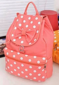 Pink white polka dot bag