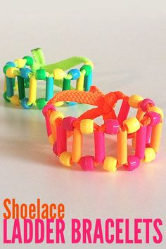Tween Craft Ideas: Make a Quirky Shoelace Ladder Bracelet Easy Arts And Crafts, Crafts For Kids To Make, Crafts For Teens, Projects For Kids, Art For Kids, Craft Projects, Tween Craft, Kids Crafts, Weaving Projects