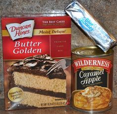 Recipe: Caramel Apple Cobbler Using a Cake Mix. We prefer a butter pecan cake mix, 2 cans of apple pie filling 1 stick of butter. Instructions Pour filling into bottom of a 8×11 casserole pan. Spray the pan with nonstick spray first.  Pour dry cake mix over filling. I added some caramel syrup to it as well. Would have been awesome with some vanilla ice cream!!! Made it for Max's birthday! 11/04/12