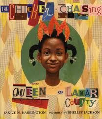 Mentor text lesson plan for The CHICKEN CHASING QUEEN OF LAMAR COUNTY featuring onomatopoeia, unique word choice, and figurative language