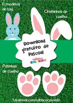 Download gratuito de molde coelho tag Páscoa pegada e orelhas