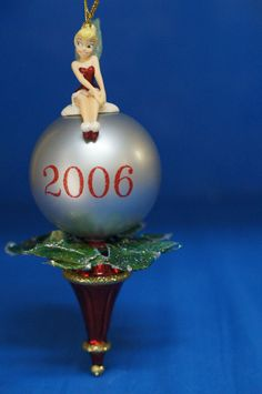 Tinker Bell Silver Ball Poinsettia Christmas Ornament Disney Store dated 2006 #DisneyStore