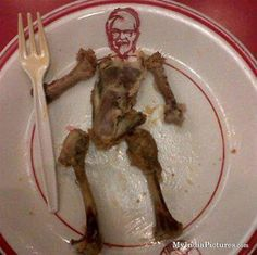 KFC founder image made with a plate and chicken bones Colonel Sanders, Kentucky Fried, Everything Funny, Food Humor, Crazy People, Food Menu, Fried Chicken, Chicken Bones, Funny Photos