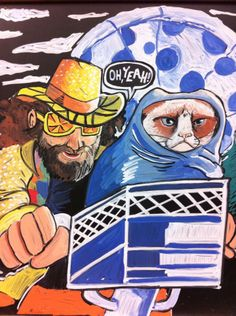 Chalk Ink Markers  Meme/Nonsense sign  Macho Man Randy Savage with Grumpy Cat in the scene from ET with the moon shaped like a pizza. OH YEAHHH!