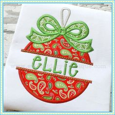 Split Bow Ornament Applique. Shown with our Oopsy Daisy font. Font NOT included, but is sold separately. 4x4, 5x7, 6x10, and 8x12 hoops.