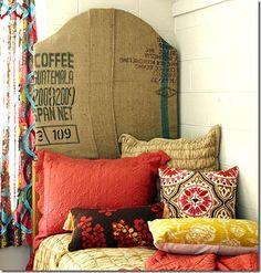 burlap headboard - guatemalan coffee - red and yellow patterned bedding and curtains Headboard Ideas, Cloth Headboard, Brass Headboard, Custom Headboard, Tall Headboard, Dorm Room Headboards, Upholstered Headboards, Make Your Own Headboard, Pom Poms